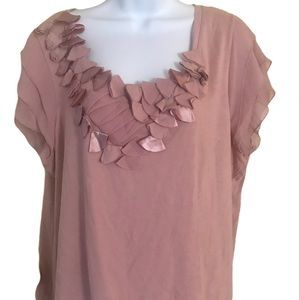 Elle dusty rose blouse with ruffles